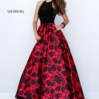 Sherri Hill 50245 Elegant Printed Halter Top Ball Gown