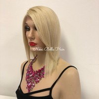 Lightest Blond Hair Swiss Lace Front Wig | Light & Breezy Shag Short Bob Hairstyle | Charm 1018 1