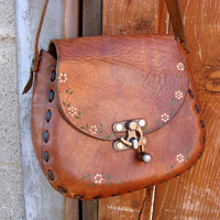 Vintage 1970s Hand Tooled Brown Leather Purse