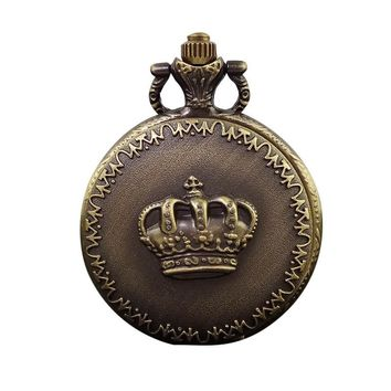 Vintage Fashion Quartz Steampunk Pocket Watch Crown Carved Flowers Women Man Necklace Pendant with Chain Gifts Relogio De Bolso
