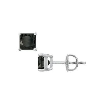 14K White Gold Prong Set Square Onyx Stud Earrings 3.00 CT TGW. 6fcf37b60b9c