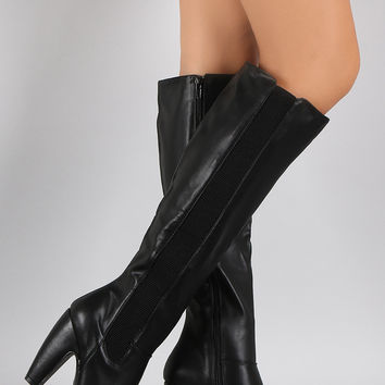 Bamboo Elastic Side Gore Chunky Heel Boots