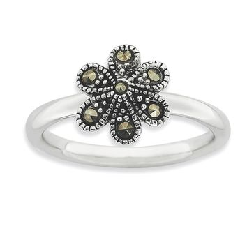 Sterling Silver Stackable Expressions Marcasite Scalloped Ring