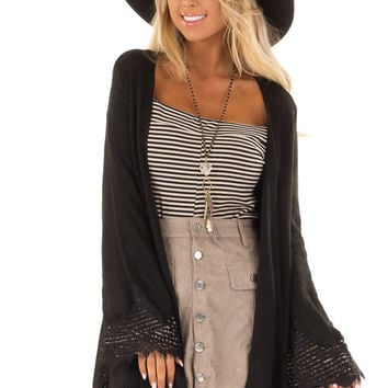 Black Open Cardigan with Lace Trim Detail