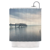 "Laura Evans ""Waiting for the Storm to Pass"" Gray Blue Shower Curtain"