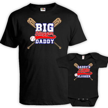 Father Son Matching Shirts Father And Son Gift Daddy And Son Shirts Big Slugger Daddy Daddy's Little Slugger Baby Bodysuit MAT-702-703