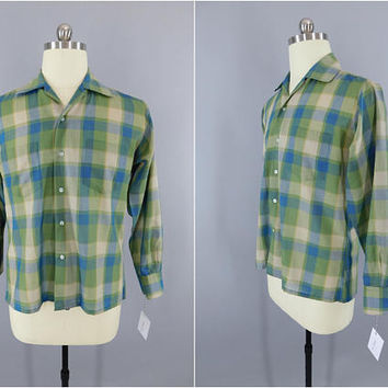Vintage 1960s Plaid Shirt / 60s Men's Shirt / Security Plys Menswear / Preppy Summer Shirt / Button Down / Blue Green Plaid