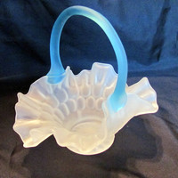 Frosted Glass Basket with Aqua Handle by Aetna Glass from 1880's