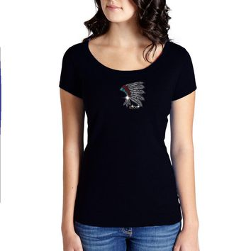 Rhinestones   Lucky Headdress   Scoop Neck T-Shirt. Made By Lucky Gambler