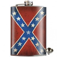 Trixie & Milo Rebel Confederate Flag Stainless Steel Hip Flask | Gift