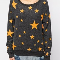 Wildfox Disco Star Long Sleeve Jumper at asos.com