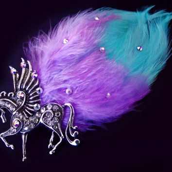 Pegasus Feather Hair Clip Pastel Purple From