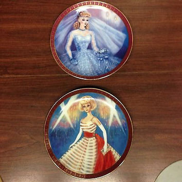 Vintage Barbie Doll  2 TWO Porcelain Quality Limited Edition Plates