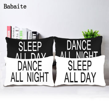 Dance All Night Sleep All Day Soft Pillowcase Invisible Zippered Twin Sides Printing Throw Pillow Covers Total 2 Pieces