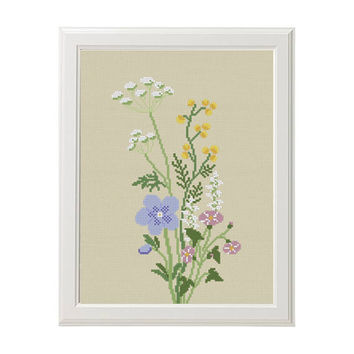 Wildflowers cross stitch pattern flower cross stitch Modern nedlepoint house room decor diy gift Easy beginner cute chart instant download