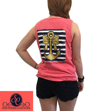 Southern Couture Gold Glitter Anchor Bow Comfort Colors Tank Top