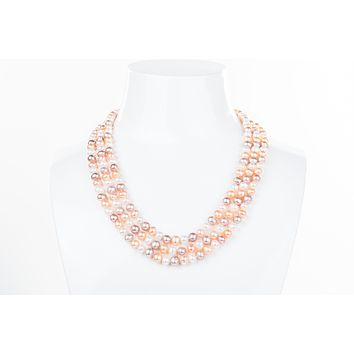 Multi-Color Triple Strand Layer Freshwater Pearl Necklace 6-7mm