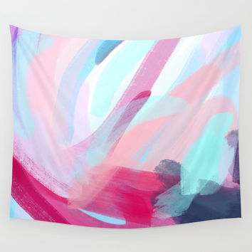Pastel Abstract Brushstrokes Wall Tapestry by Elizabeth Schulz