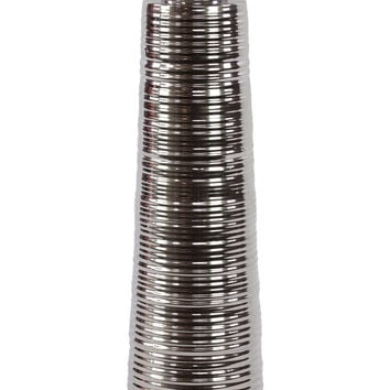 Sleek & Slim Ceramic Vase W/ Small Mouth In Silver Large
