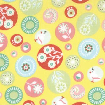 Moda, Hideaway, Edelweiss, Sun Yellow, Designer Cotton Quilt Fabric, Circle Fabric, Floral Fabric, Quilting Fabric