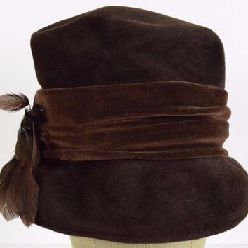 Brown Feather women's flapper dress bucket hat cap fitted