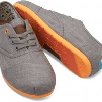 TOMS Shoes Grey Denim Orange Pop Cordones Sneaker Men's Shoes,