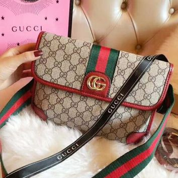 Gucci Trending Ladies Shopping Letter Stripe Print Leather Crossbody Satchel Shoulder Bag Waist Bag Handbag I-QS-MP-JZLB
