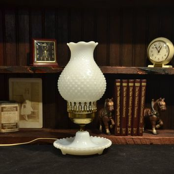 Table Lamp White Hobnail Milk Glass Bedroom Boudoir Vintage Lighting Works Brass Fenton Footed Base