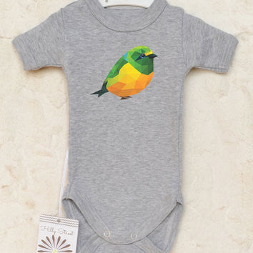 Baby Bird Shirt. Cute and Funny Baby Clothes With Canary Print. Bird Baby Romper.  Choose Your Color.