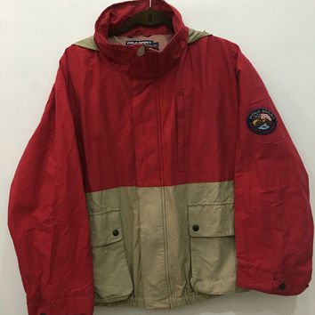 Vintage 90's Rare Red/Khakis Polo Sport Ralph Lauren Adventure Big Logo Hoodie Windbreaker Sweater with Zipper Size XL #J153