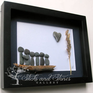Christmas for Family of Six - Family of 6 Christmas Present - Family Gift - Christmas Gifts For Family - Pebble Art -Unique Homne Decor