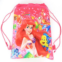 Mermaid  Cartoon drawstring children's school bags, kids birthday party Favor, Mochila escolar, school kids backpack