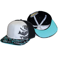 Snapback Hat with Sacred Salmon Design by Paul Windsor, Haisla, Heiltsuk