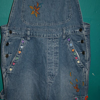 90s Embroidered Denim OVERALLS / KAWAII Ovealls w Embellished Happy Sunflowers/ Hearts / Grunge Embroidered/Embellished  Jean OVERALLS