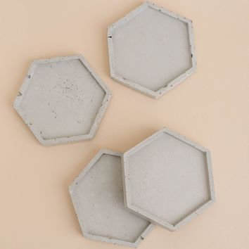 Natural Grey Concrete with Silver Glitter Hexagon Coaster Set of 4