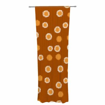 "bruxamagica ""Polka Dot Mustard"" Yellow White Pattern Polkadot Digital Mixed Media Decorative Sheer Curtain"