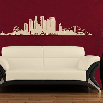 Wall Vinyl Sticker Decals Decor Art Bedroom Design Mural Words Sign Los Angeles Town City Skyline (z976)