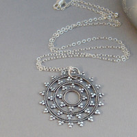 Flower Of Life,Locket,Flower Necklace,Necklace,Sterling Neckllace,Sterling Flower,Sterling Mandala,Mandala,Mandala Necklace,Sacred Geometry,