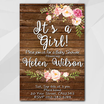 Girls Baby Shower Invitation, Wood Watercolor Invitation,rutic oh baby Custom Baby Shower invitation, etsy invitation XB002w-3