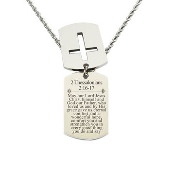 Mens Scripture Double Tag Necklace - Thessalonians 2:16-17