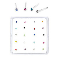 Sterling Silver Set of 20 Multi-Color Simulated Diamond Nose Stud Box 1.8 mm With End Ball