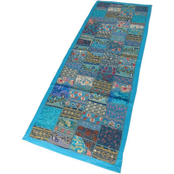 """60 x 20"""" Blue Color Vintage Indian Patchwork Tapestry Wall Hanging Runner Ethnic Home Decorative Art"""