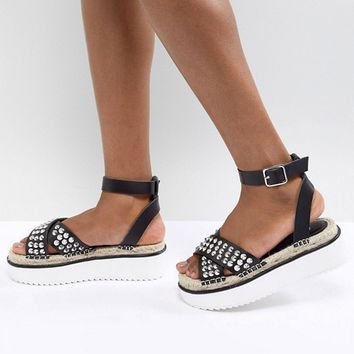 ASOS DESIGN Tristen Studded Flatforms at asos.com