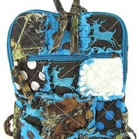 Cute! Patchwork Camo Deer Small Backpack Purse Blue Camouflage Polka Dot