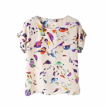 Women 2017 Summer Animal Bird Printing T Shirtt Chiffon Colorful Short Sleeve Casual T-shirt Woman Tops
