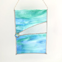 Hanging Stained Glass Window Panel - Abstract Art - Blue and Green - Handmade