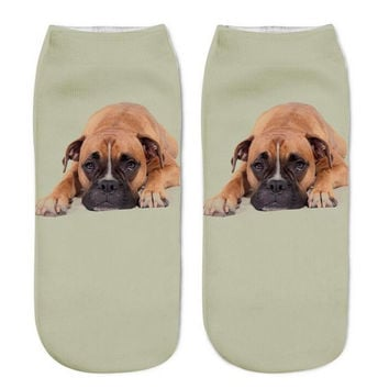 Sweet 3D Beige Big Dog Ankle Socks