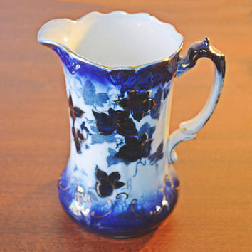 Antique Flow Blue Pitcher, Blue And White Jug