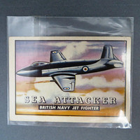 TOPPS Wings Trading Card, Sea Attacker, Vintage Airplane Collectible Card, Card Number 27, 1952 Collectors Card