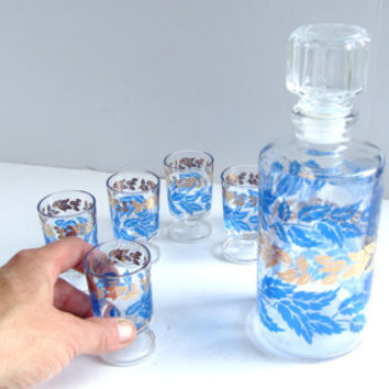 Vintage French Sherry Decanter and Glasses